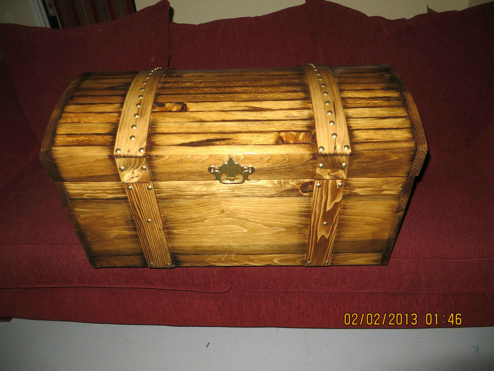 Toy Treasure Chest Beach : Handmade curved top wooden treasure hope chest childs toy
