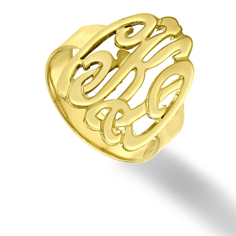personalized monogrammed ring order any name 14k gold