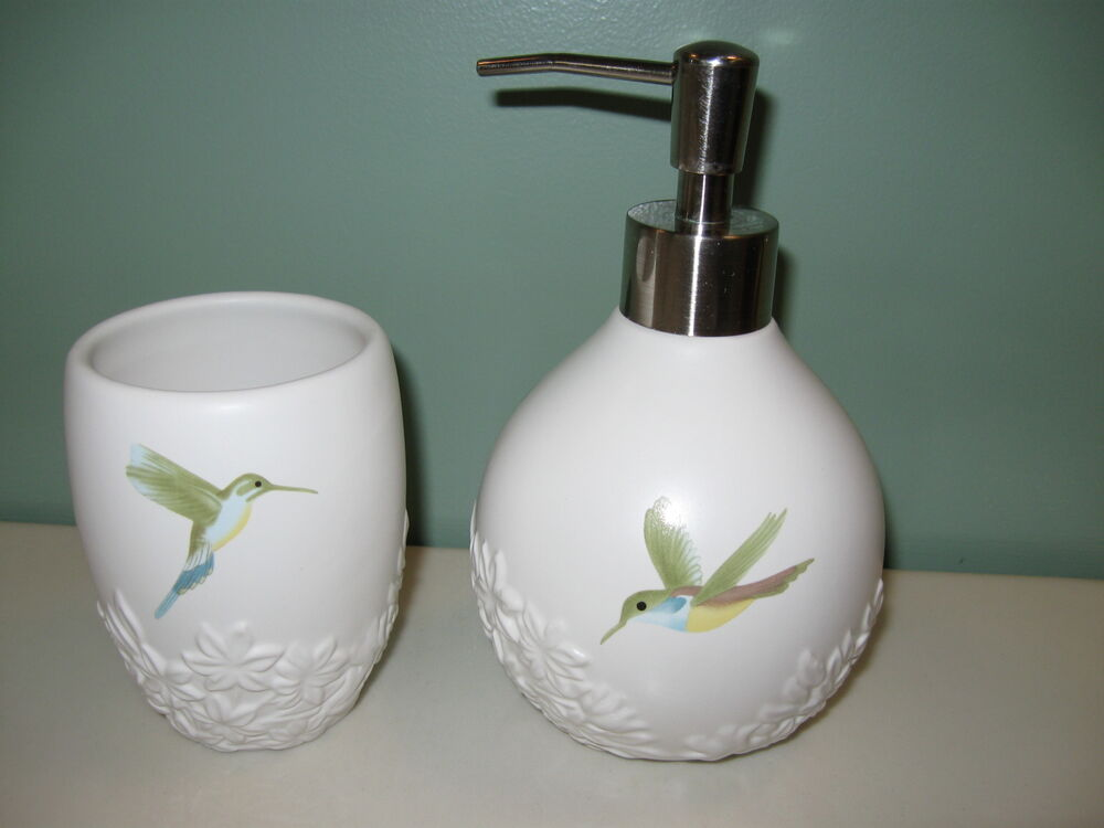 Hummingbird ceramic bathroom cup soap dispenser garden for Ceramic bathroom accessories