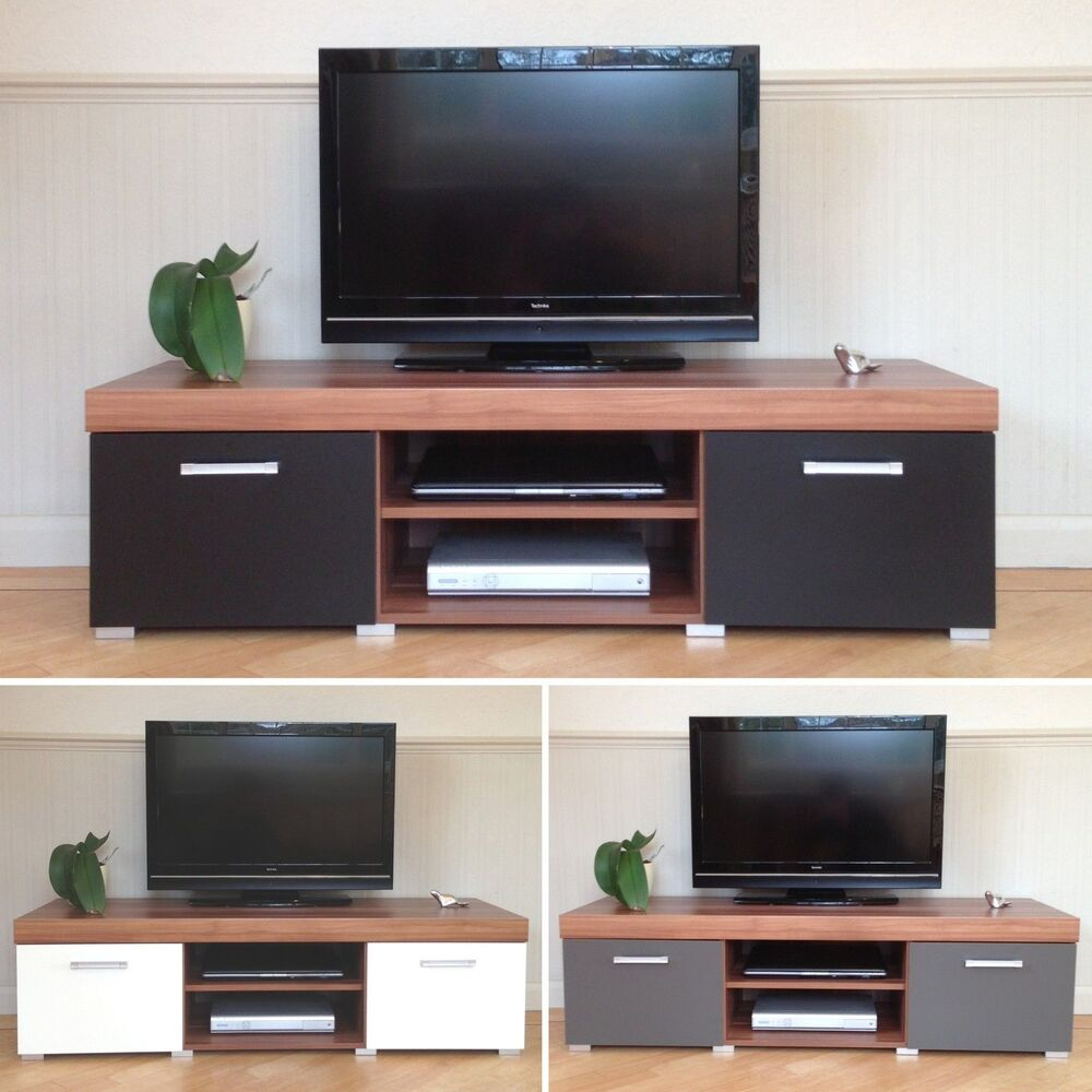 2 door tv cabinet plasma low bench stand unit black white. Black Bedroom Furniture Sets. Home Design Ideas