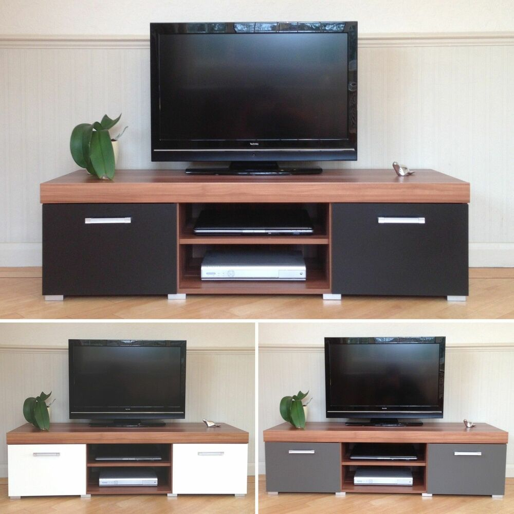 2 door tv cabinet plasma low bench stand unit black white graphite walnut new ebay. Black Bedroom Furniture Sets. Home Design Ideas