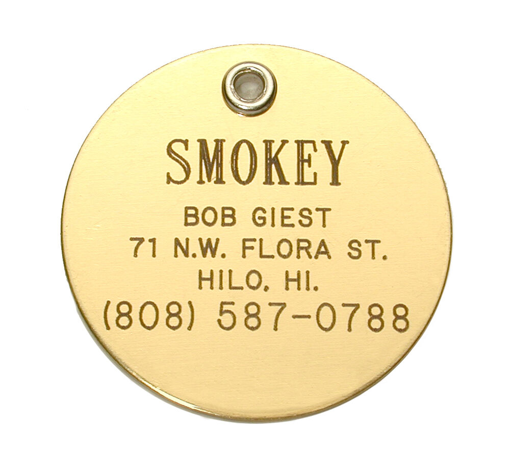 Large Double Sided Brass Pet Id Tag Custom Engraved Free