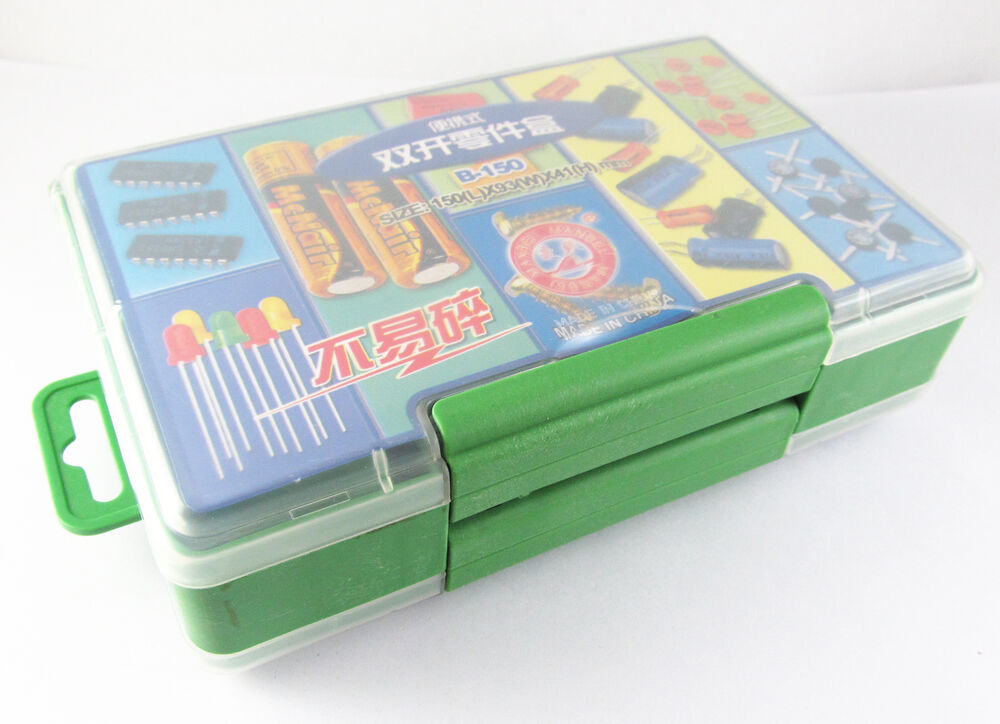 Portable Craft Storage : Portable organizer dual open lid box for electronic tools