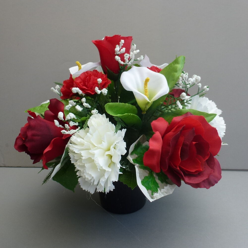 Artificial Flower Arrangement Red White In Pot For Grave