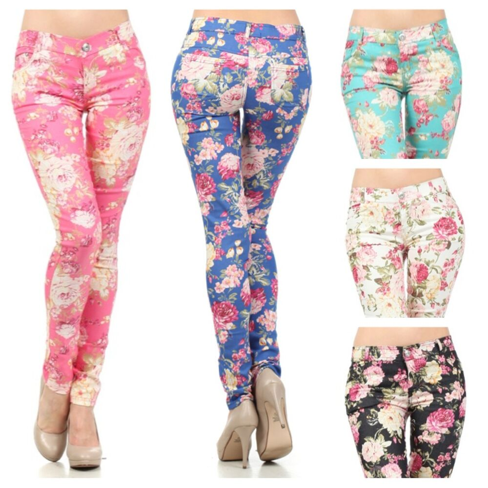 Floral Flower Print Skinny Watercolored Vintage Stretch ...