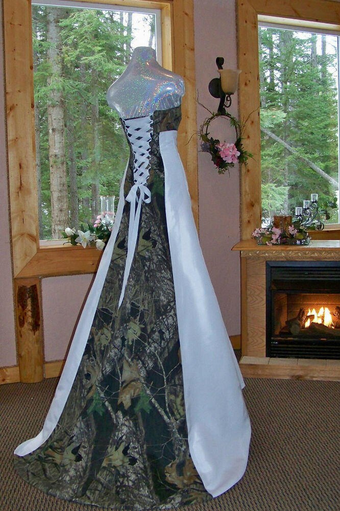 NEW Camo Wedding Gown Dress CUSTOM MADE Cotton Camo In The USA EBay