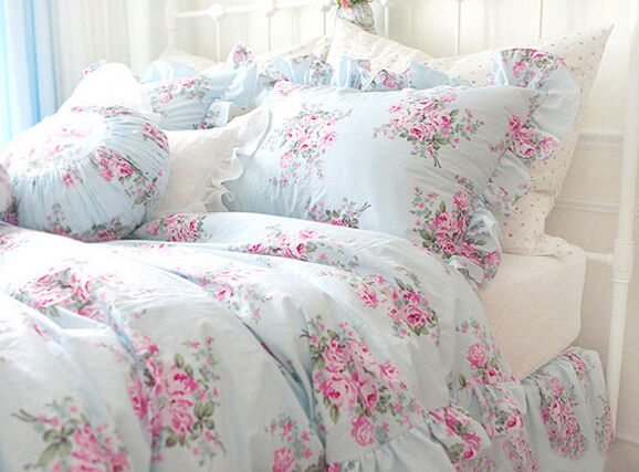 King queen full twin princess shabby floral chic blue - Blue and pink floral bedding ...