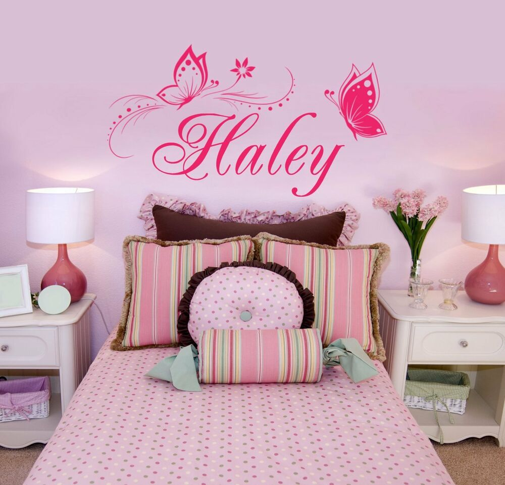 personalized name butterflies vinyl wall decal sticker
