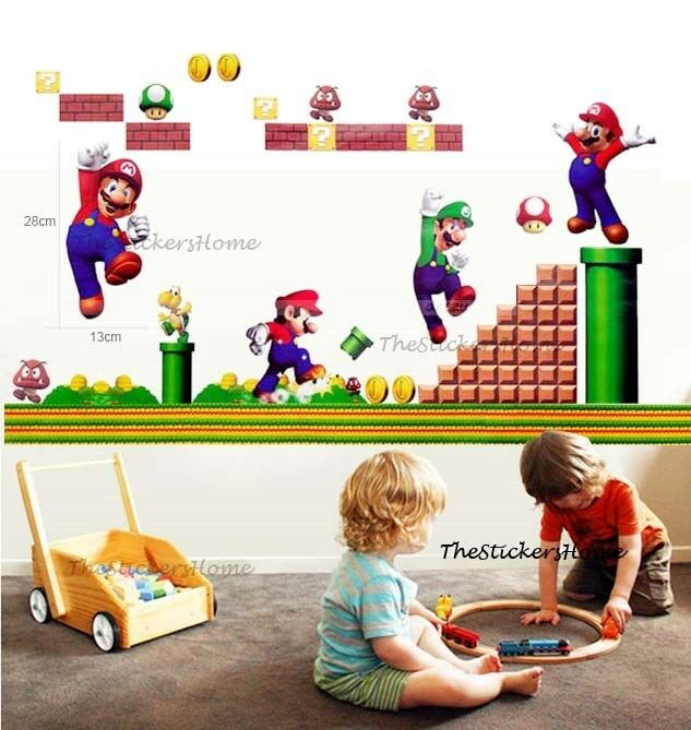 Super Mario Bros Wall Stickers Children Kids Boys Game Playroom Bedroom Decor Ebay