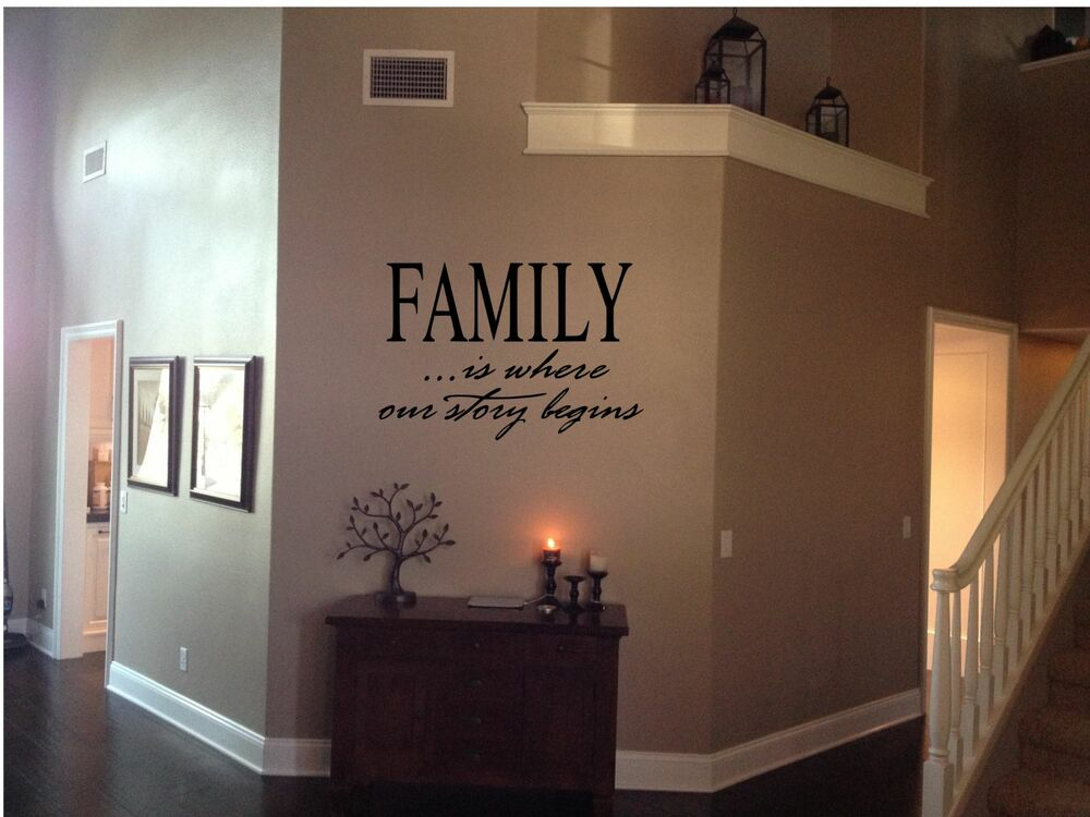 family is where our story begins vinyl home decor wall art inspirational quotes ebay. Black Bedroom Furniture Sets. Home Design Ideas