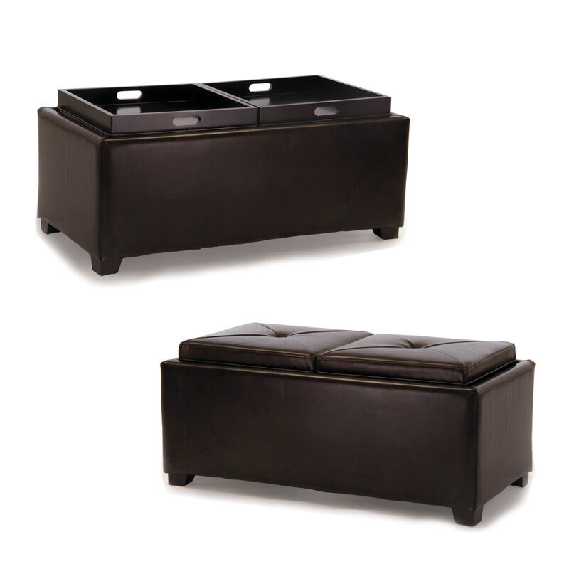 Ottoman Coffee Table Tray Uk: 2-Tray-Top Brown Leather Storage Ottoman Coffee Table