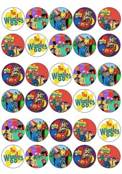 30 X WIGGLES MIXED IMAGES EDIBLE CUPCAKE TOPPERS PREMIUM ...