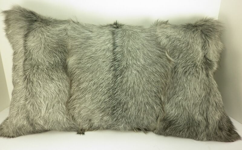 Real Gray Goat Fur Pillow New Made In Usa Authentic Fur
