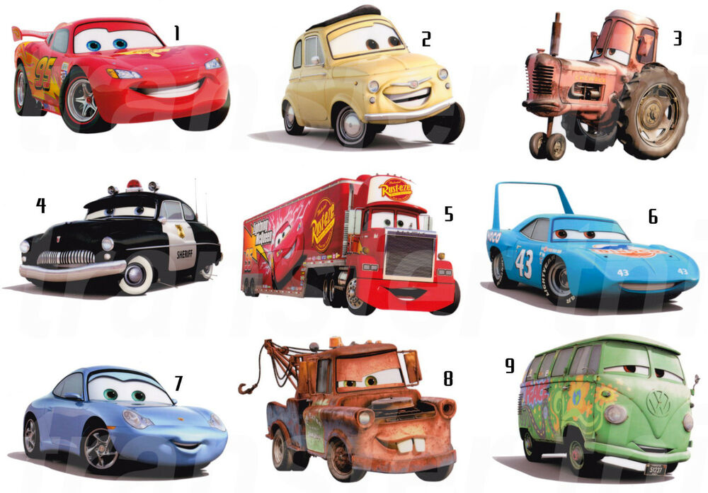 Disney cars stickers wall deco decal or fabric tshirt for Disney pixar cars mural wallpaper
