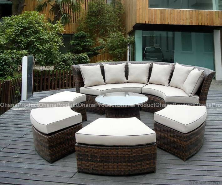 Outdoor Patio Furniture 7pc Multibrown All Weather Wicker: Outdoor Patio Wicker Furniture 7pc Round Couch Set
