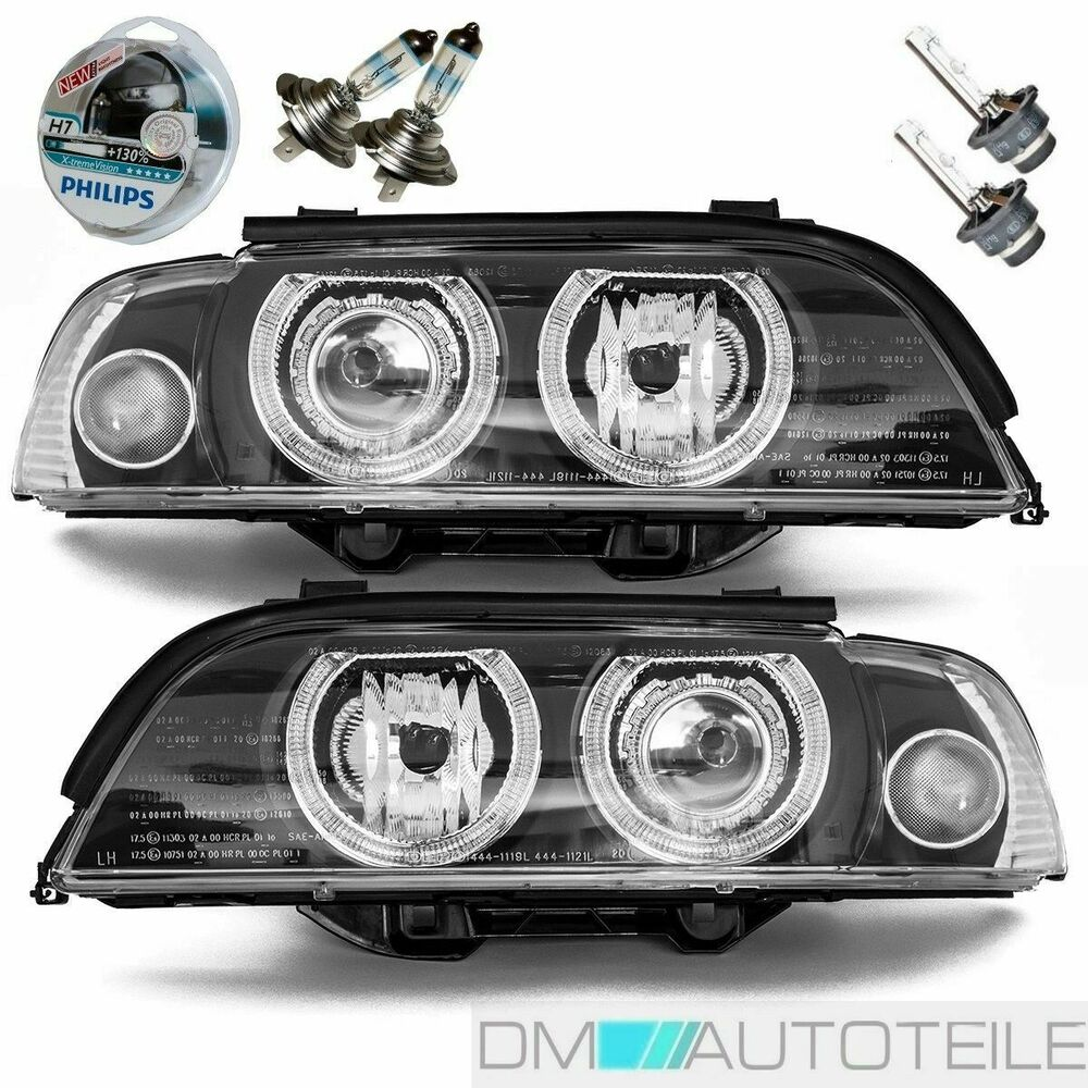 bmw e39 phare angel eyes xenon set d2s h7 facelift bi xenon design ampoule ebay. Black Bedroom Furniture Sets. Home Design Ideas