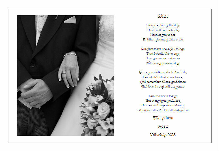 Wedding Day Gift For Father Of The Bride : Personalised Wedding Day Poem Gift - To the FATHER of the Bride eBay