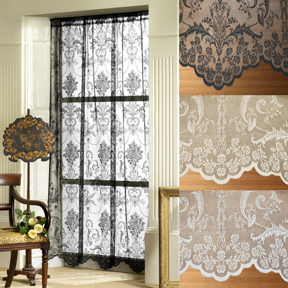 Victoria holly lace net voile slot top curtain panel with for Window voiles
