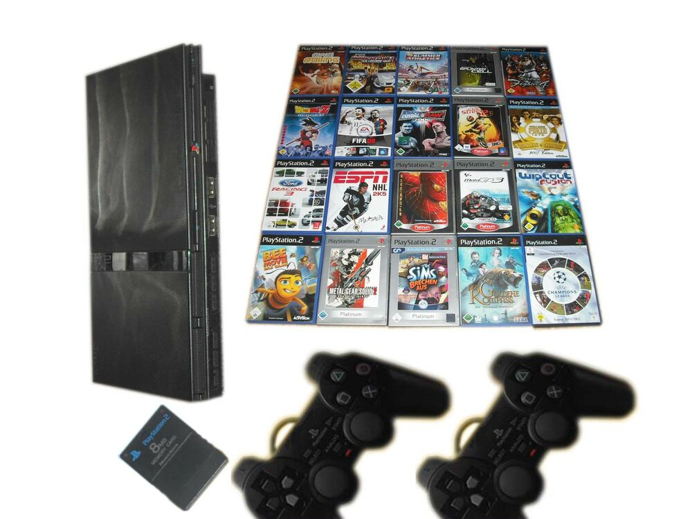 sony ps2 silm konsole 2 contr mc 10 spiele gratis. Black Bedroom Furniture Sets. Home Design Ideas