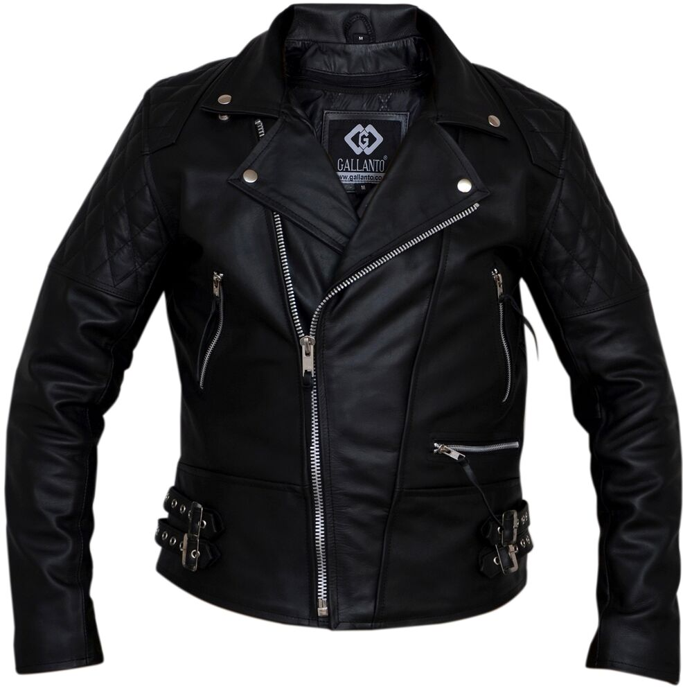 Classic Diamond Armoured Motorcycle Biker Leather Jacket ...