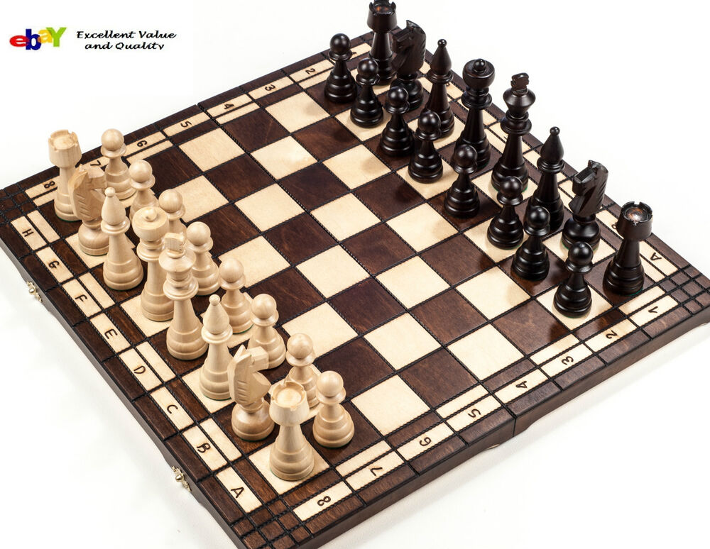 Brand New Hand Crafted Club Style Wooden Chess Set 50cm
