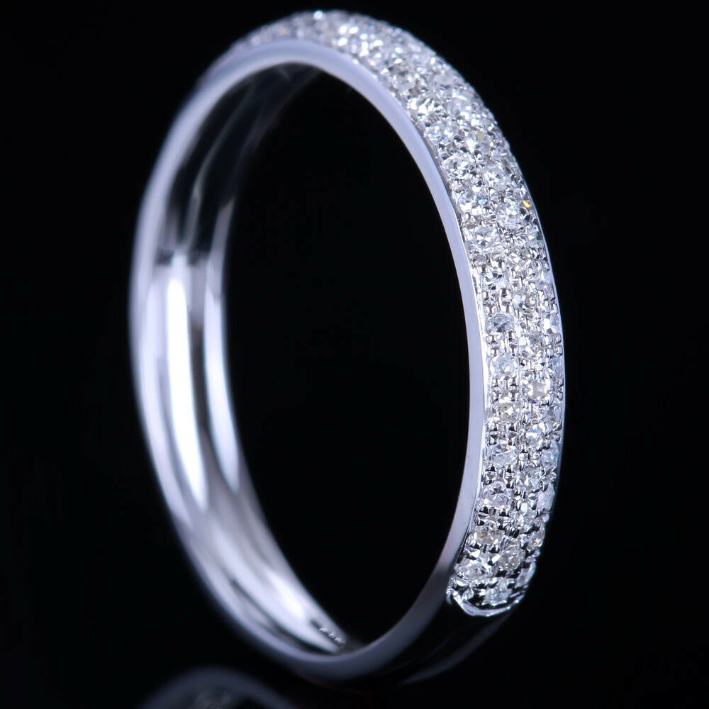 Real diamond ring solid 14k white gold pave wedding band for Real wedding ring
