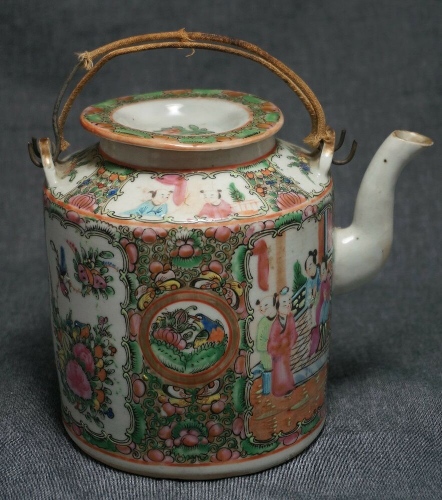 Rose medallion teapot and lid wrapped wire handles