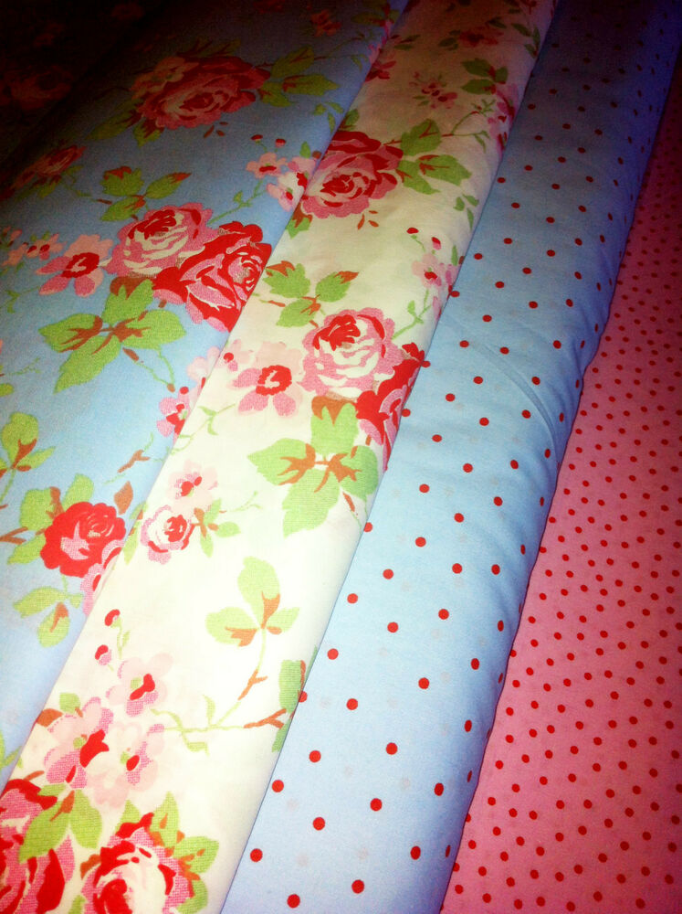 cath kidston rosali fabric material pink white rose ikea 150cm wide by the metre ebay. Black Bedroom Furniture Sets. Home Design Ideas