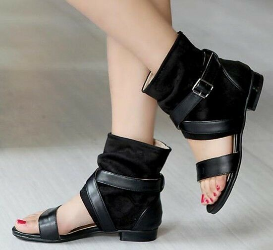 Women Gladiator Roman Cross Strap Buckle Sandals Open Toe