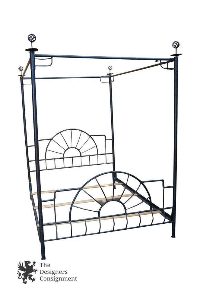 contemporary black steel canopy bed frame finials full double size unique ships ebay