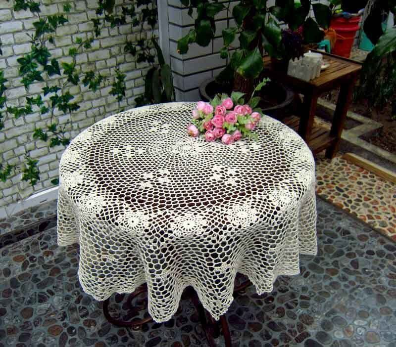 Vintage Hand Crochet Cotton Tablecloth Topper Cover 36