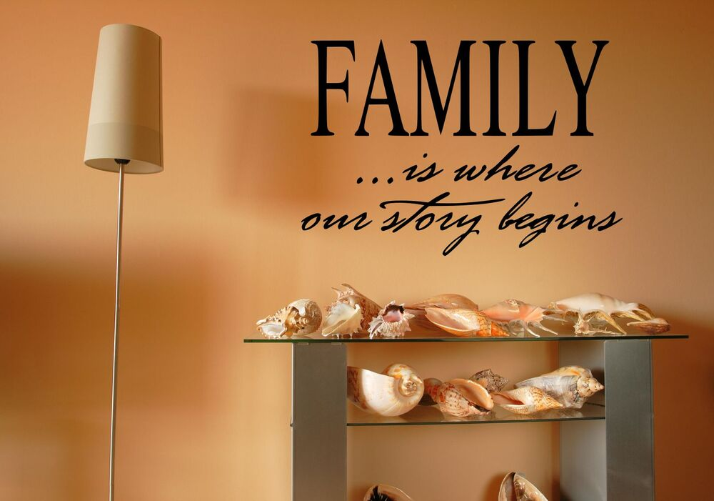 Vinyl Wall Art Quotes Family : Family is where our story begins vinyl home decor wall art