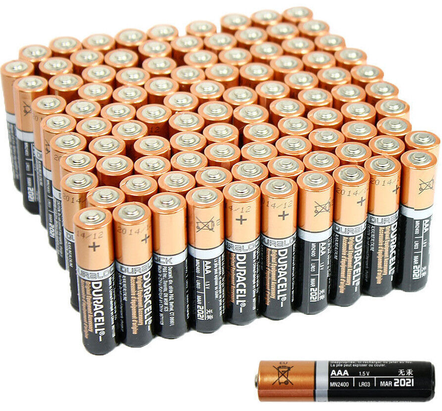 100 Pcs Duracell Aaa 1 5v Alkaline Batteries Lr03 Am4 Bulk