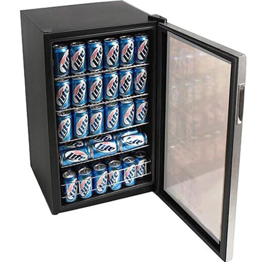 Beverage Drink Cooler Compact Glass Door Refrigerator Soda