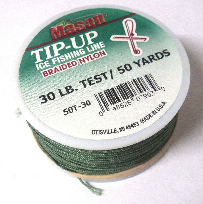Mason tip up ice fishing line braided nylon green 30 for Ice fishing line
