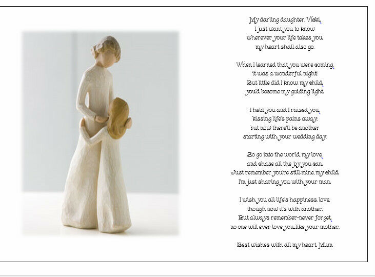 A Gift From Mother To Daughter On Her Wedding Day : ... Wedding Day Poem GiftFrom Mother of Bride to Daughter eBay