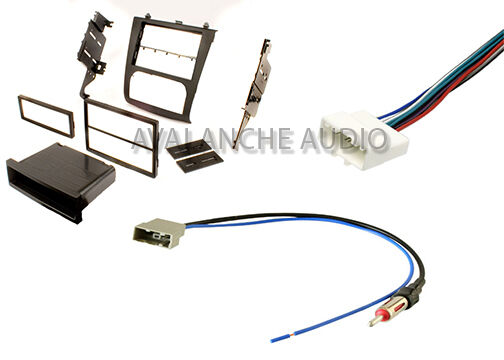 Car stereo radio install kit with harness antenna