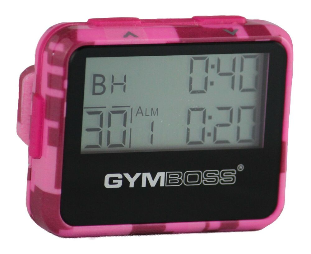 Gymboss interval timer and stopwatch pink camo