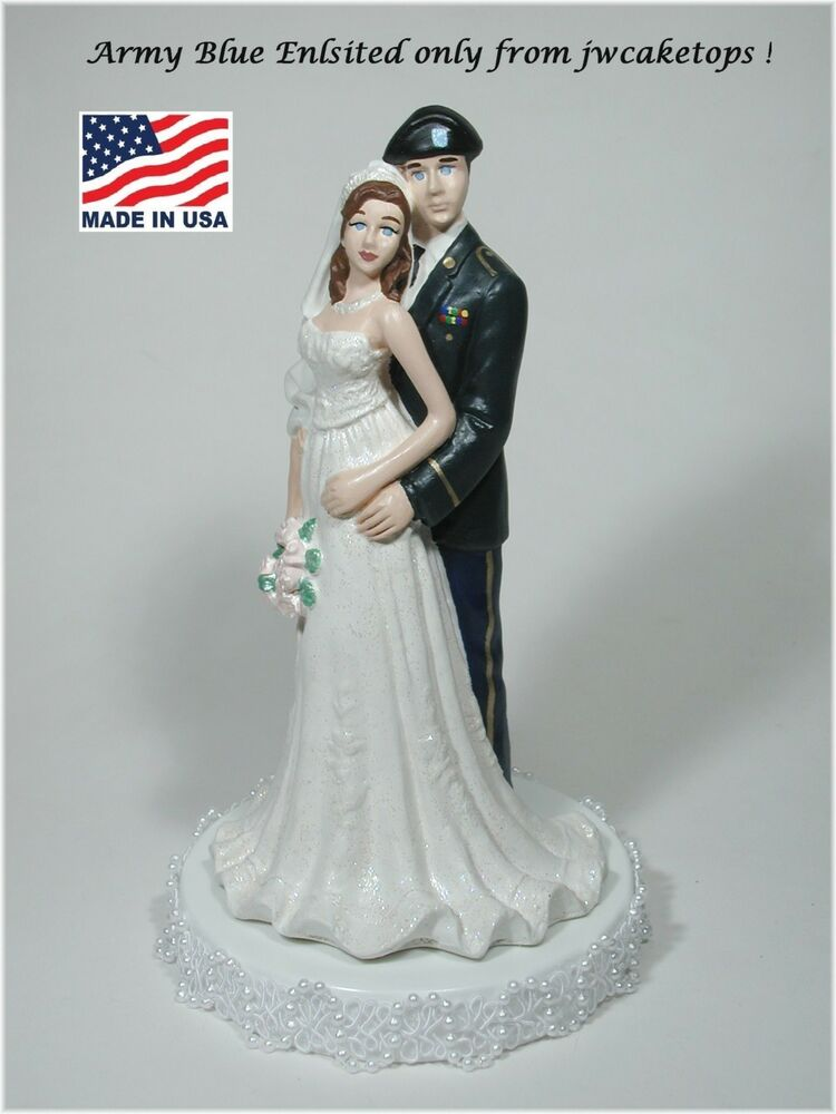 wedding cake toppers army groom army blue enlisted w beret groom wedding 26380