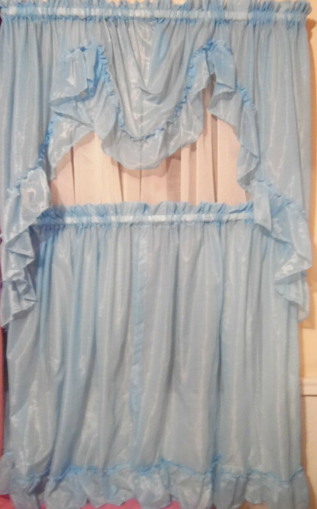Blue sheer valance amp tiers quot linda quot ruffled curtain set by prince made