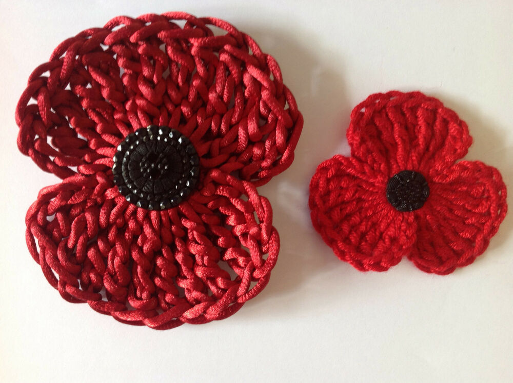 Free Crochet Poppy Brooch Pattern : crochet flower red poppy PATTERN for pin badge brooch 2 ...