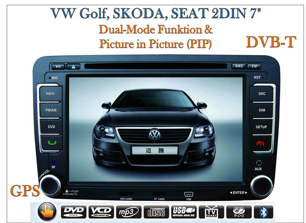 2 din autoradio vw golf skoda seat 7 lcd tft monitor gps dvb t pip neu ebay. Black Bedroom Furniture Sets. Home Design Ideas