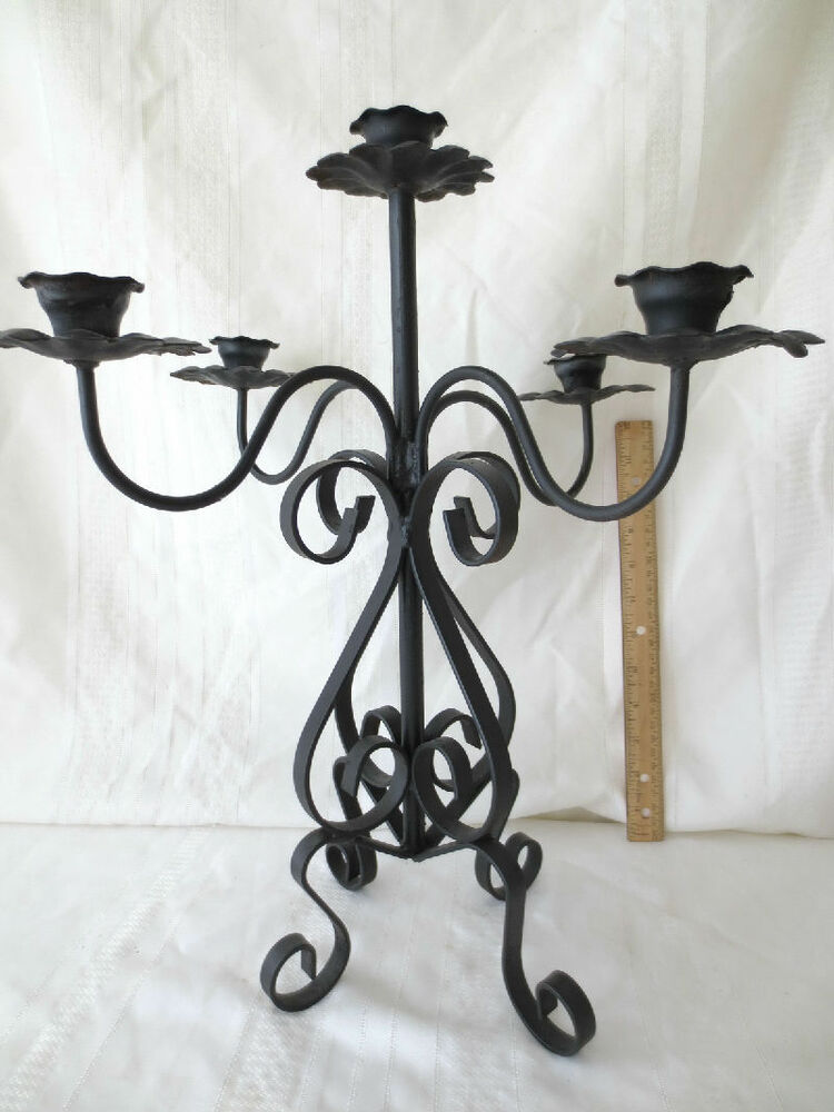 Iron Candle Stand Designs : Vintage ornate wrought iron candelabra candle holder