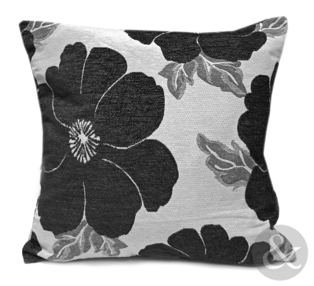 chenille poppy cushions black grey large small floral. Black Bedroom Furniture Sets. Home Design Ideas