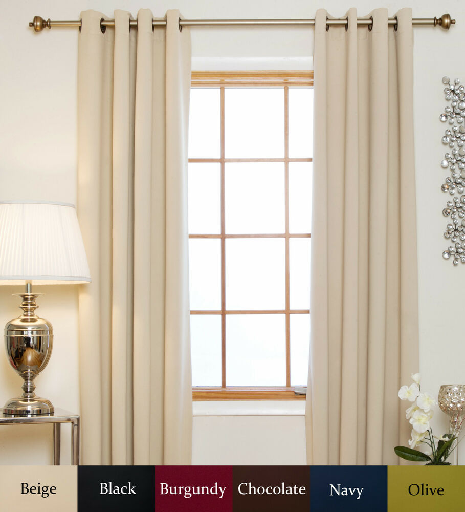 antique brass grommet top thermal insulated blackout curtain 64 inch length pair ebay. Black Bedroom Furniture Sets. Home Design Ideas