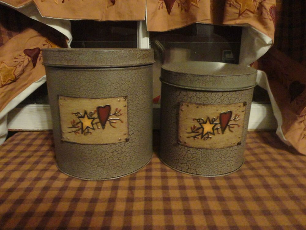 primitive country metal star heart canister set kitchen