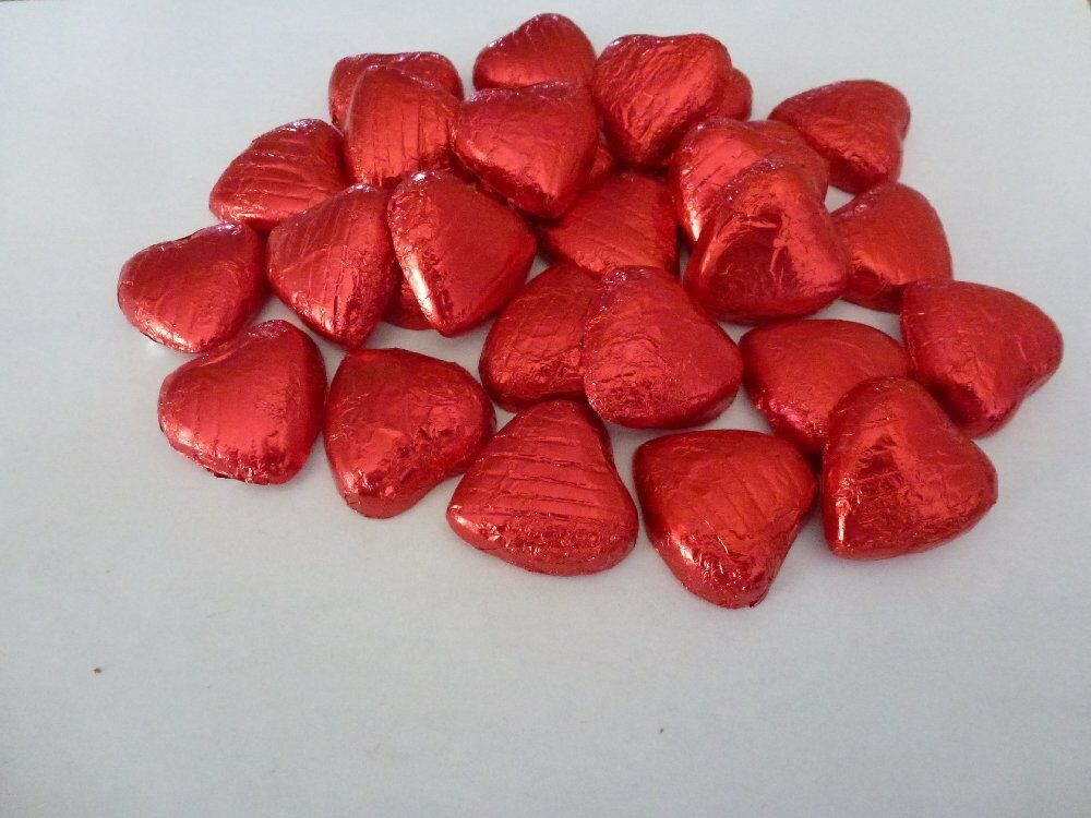 RED FOIL CHOCOLATE LOVE HEARTS WEDDING FAVOURS WRAPPED | eBay