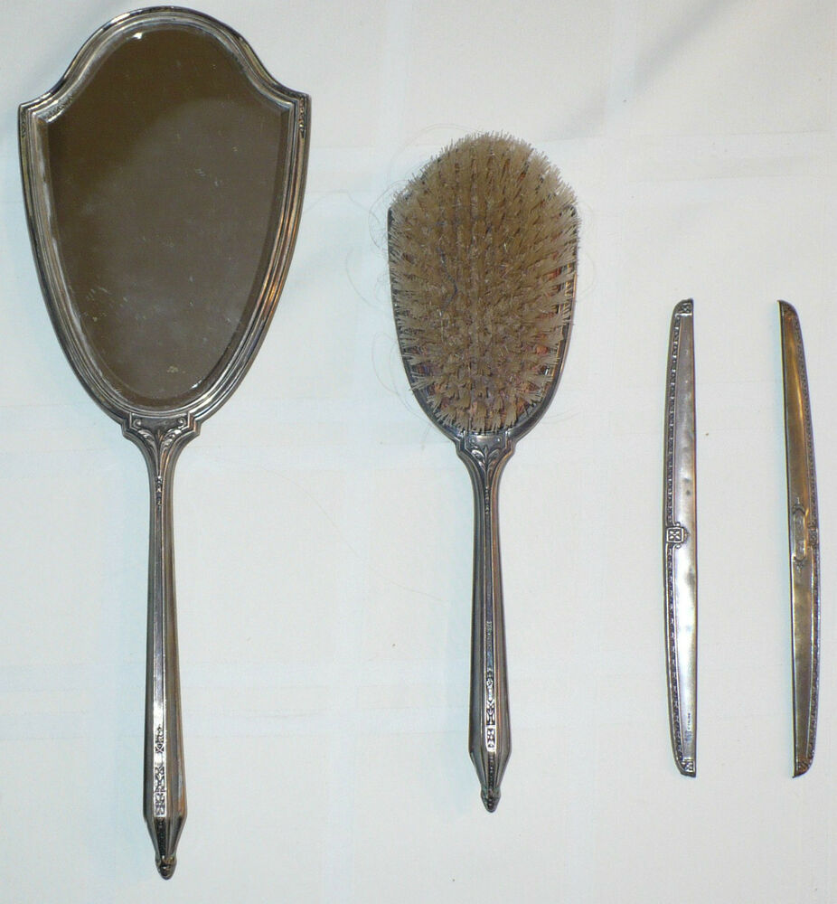 Antique Sterling Silver Grooming Set Mirror Brush Comb