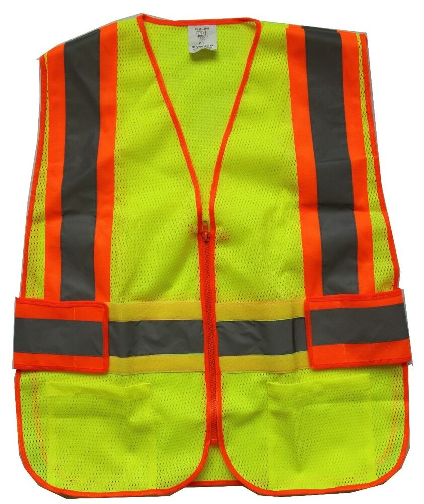 new yellow mesh reflective safety vest pockets for running construction size m l ebay. Black Bedroom Furniture Sets. Home Design Ideas