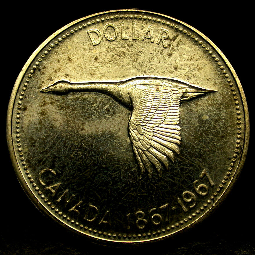 1967 Canada 1 Dollar Large Canadian Goose 1 Year Silver